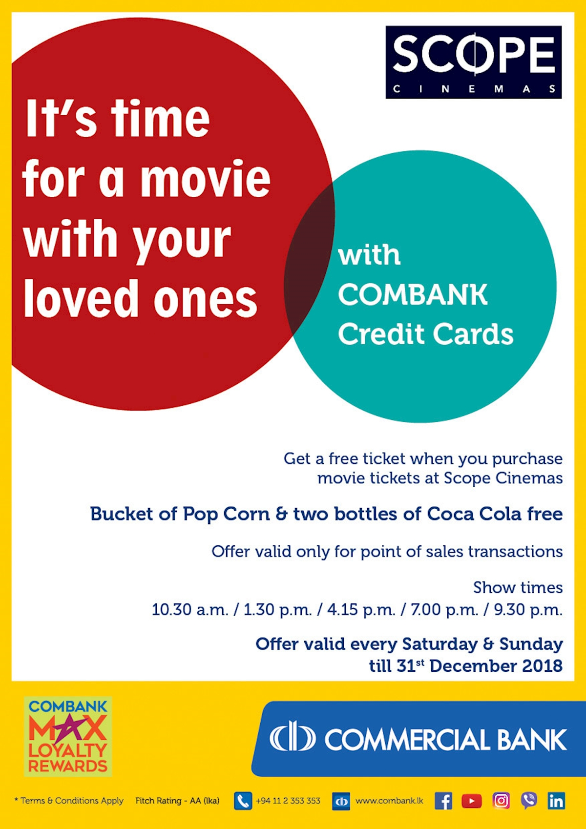 Get a Free ticket when you purchase movie tickets at Scope Cinemas for Combank Cardholders