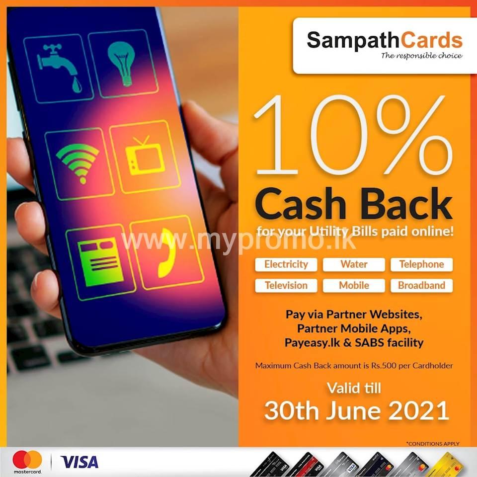 10% Cash Back for your utility Bills paid online for all Sampath Mastercard & Visa Credit Cardholders