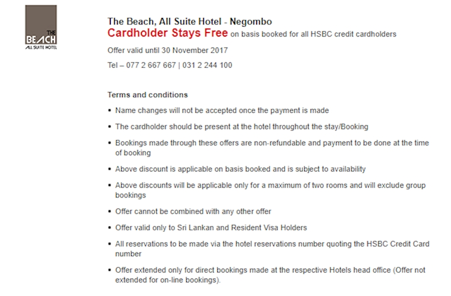 Now All HSBC Credit Cardholders enjoy a Free Stay at The