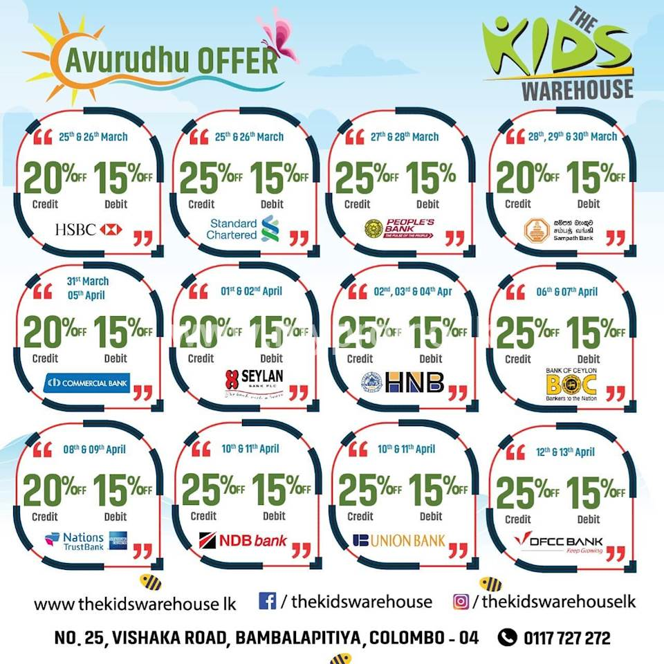 Avurudu Offers for selected bank cards at The Kids Warehouse
