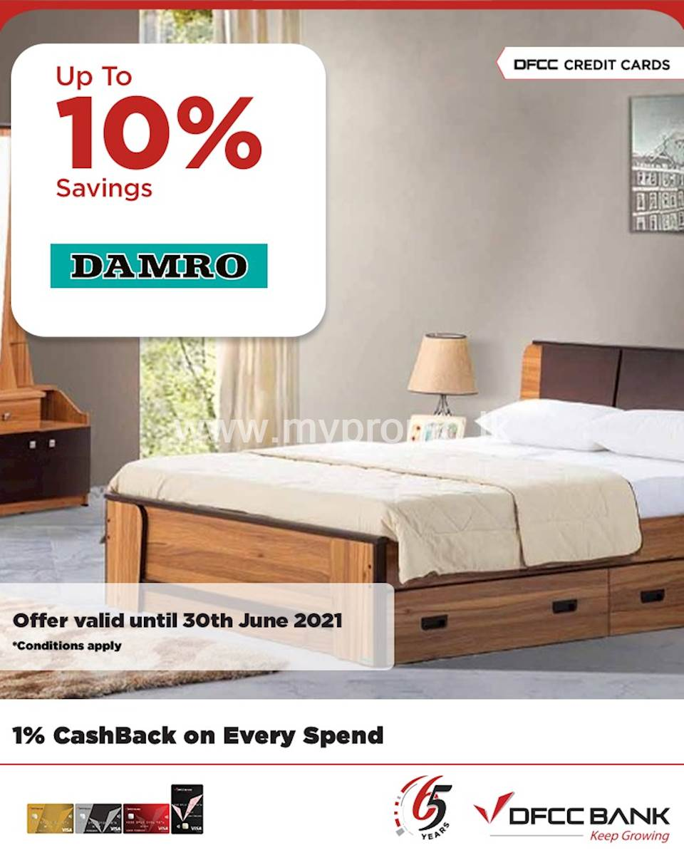 Enjoy up to 10% savings on mobile phones, appliances, and all Damro Branded Products at Damro with DFCC Credit Cards!