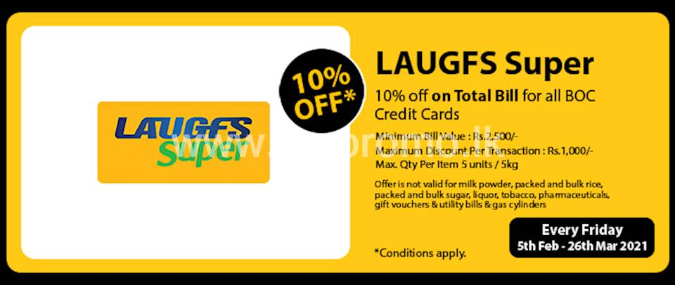 10% Off on Total Bill for BOC credit Cards at LAUGFS Supermarket