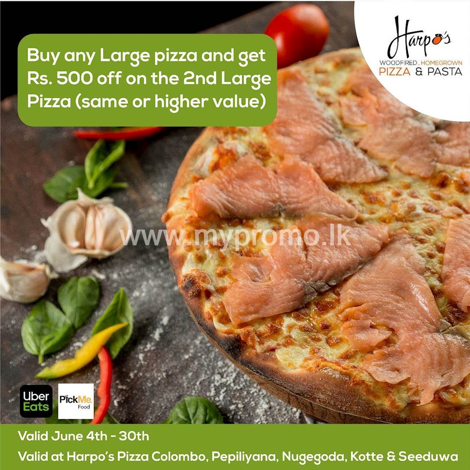 """Buy any Large (12"""") pizza and get Rs. 500 off on the second large (12"""") pizza of the same value or higher at Harpo's Pizza"""
