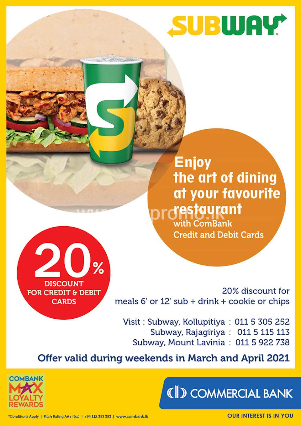 Enjoy 20% Discount with ComBank Credit and Debit Cards at Subway