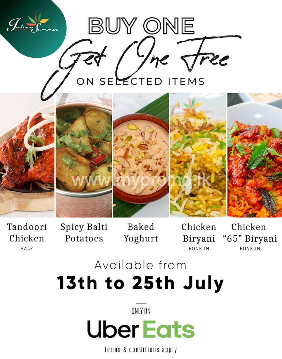 Buy One Get One Free on Selected Item on Uber Eats at Indian Summer
