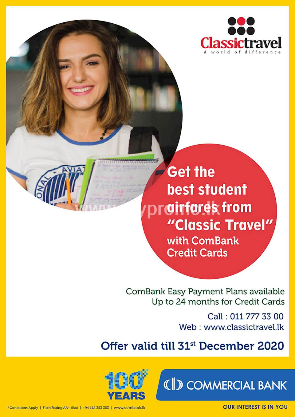 Student Offer - Get the best student airfares from Classic Travel with ComBank Credit Cards.