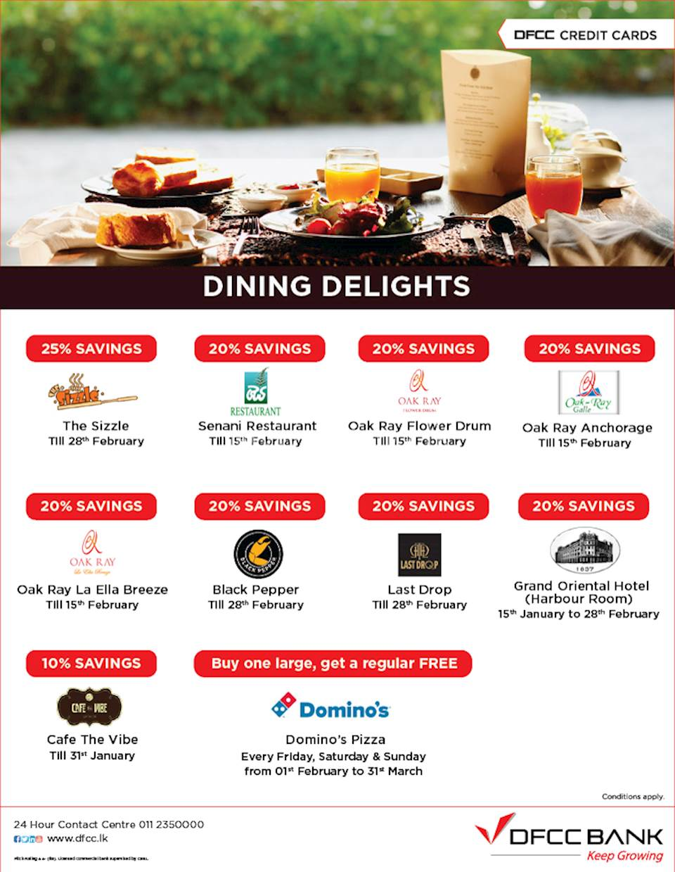 Dinning Offers with DFCC Credit Cards