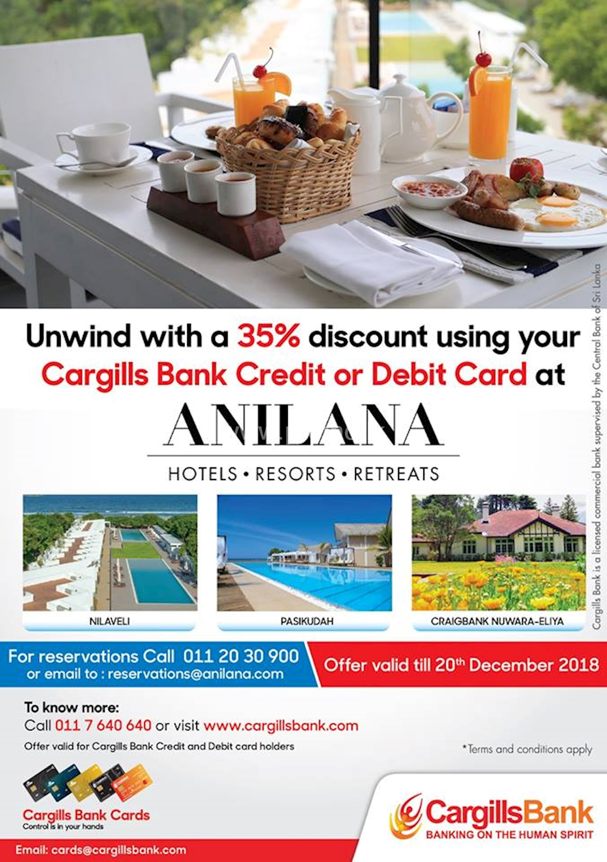 35% Off at Anilana Hotels for Cargills Bank Cardholders
