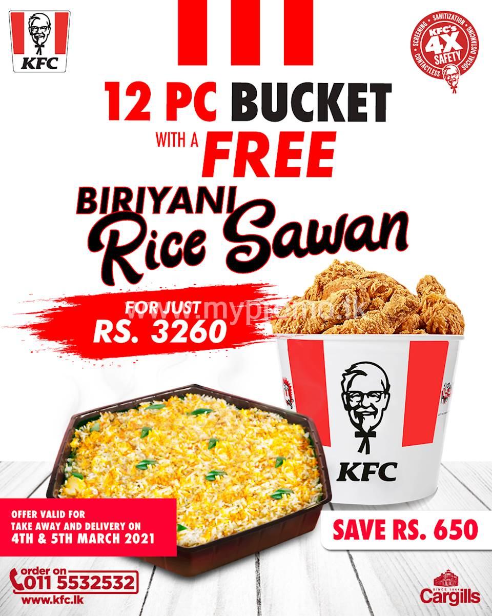 Buy a 12PC bucket and get a biriyani rice sawan FREE at KFC Sri Lanka