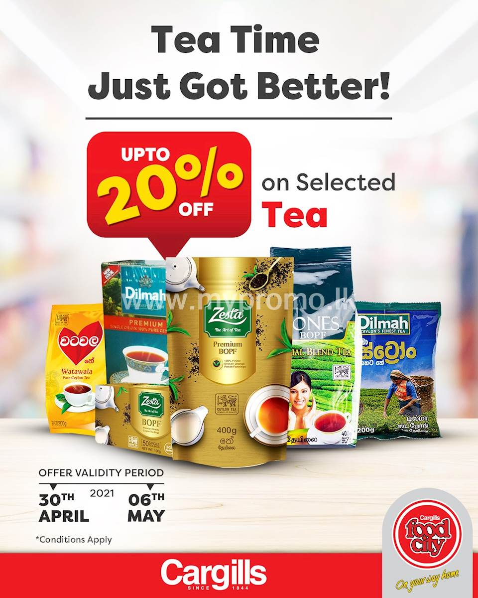 Get up to 20% off on a selected range of tea this week at Cargills Food City