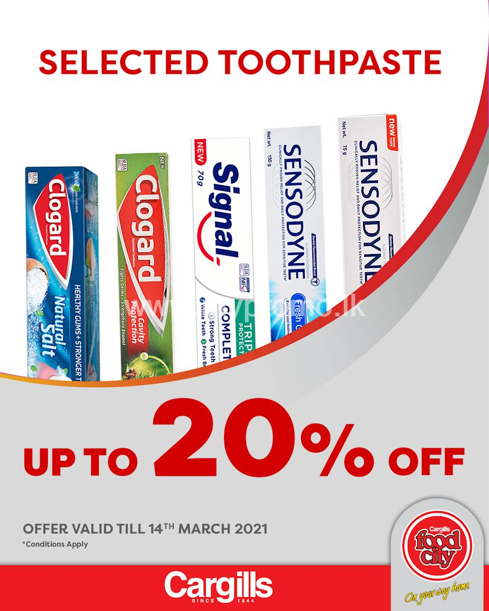 Get up to 20% Off on selected Toothpaste at Cargills FoodCity!