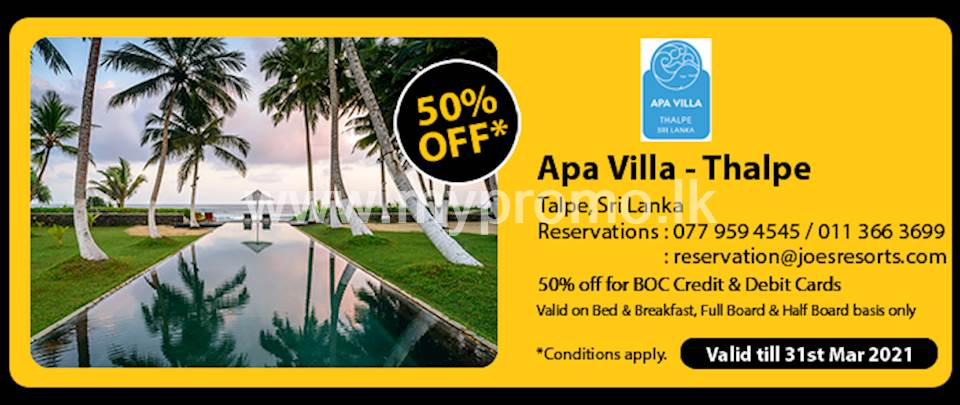 Get 50% off at Apa Villa - Thalpe for BOC Credit and Debit Cards