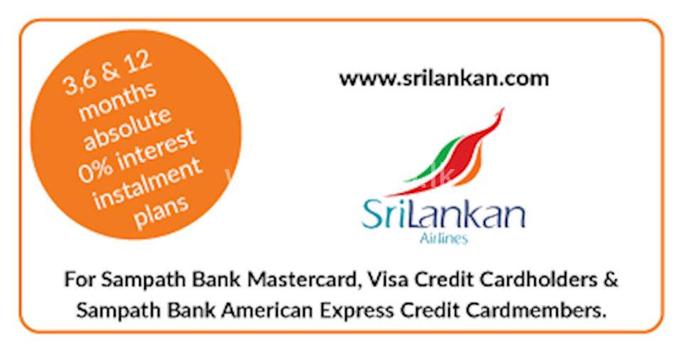 3,6 & 12 Months Absolute 0% Interest Installment Plans with Sampath Bank Cards