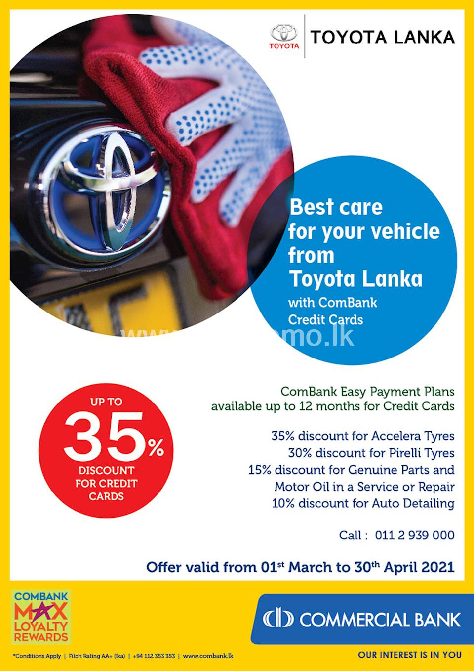 Best care for your vehicle from Toyota Lanka with ComBank Credit Cards