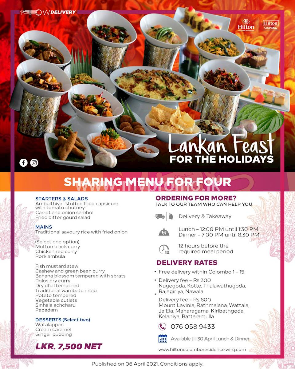 Sharing menu for four Rs. 7,500 net at Hilton Colombo Residence