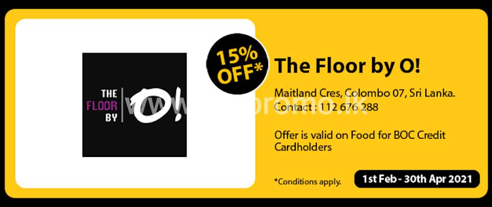 Get 15% Off at The Floor By O for BOC Credit Cards