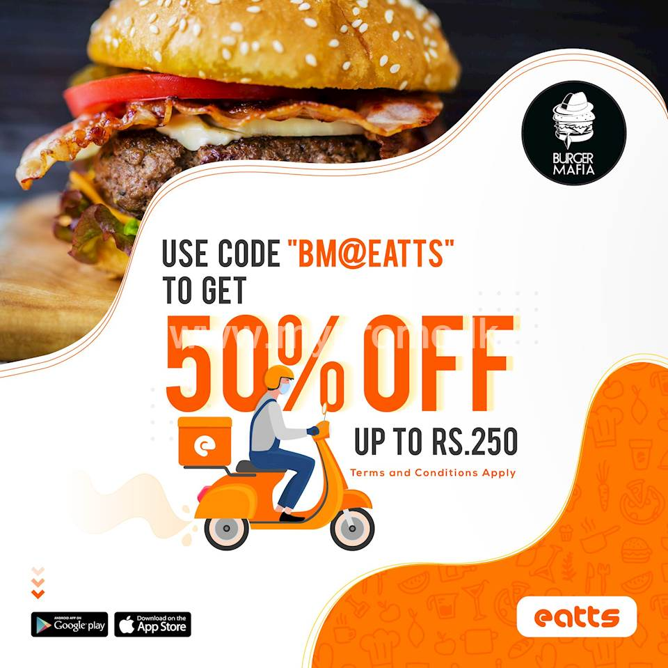 50% off up to Rs. 250 with Burger Mafia via Eatts