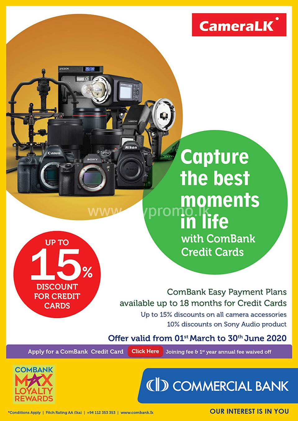 Get Up To 15% Off at CameraLK with ComBank Credit Cards