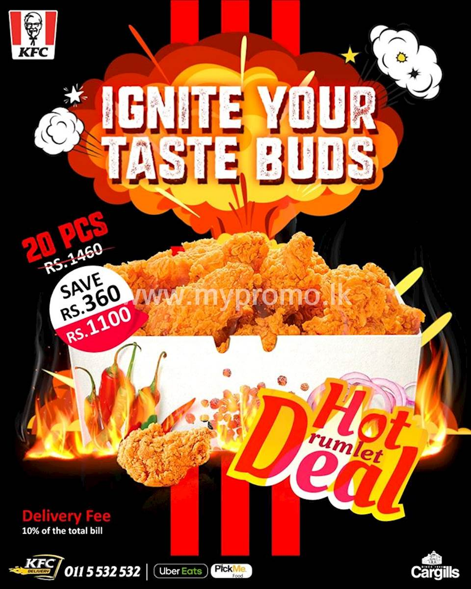 KFC Sri Lanka: Enjoy 20 pcs of hot drumlets now for Rs.1100 only