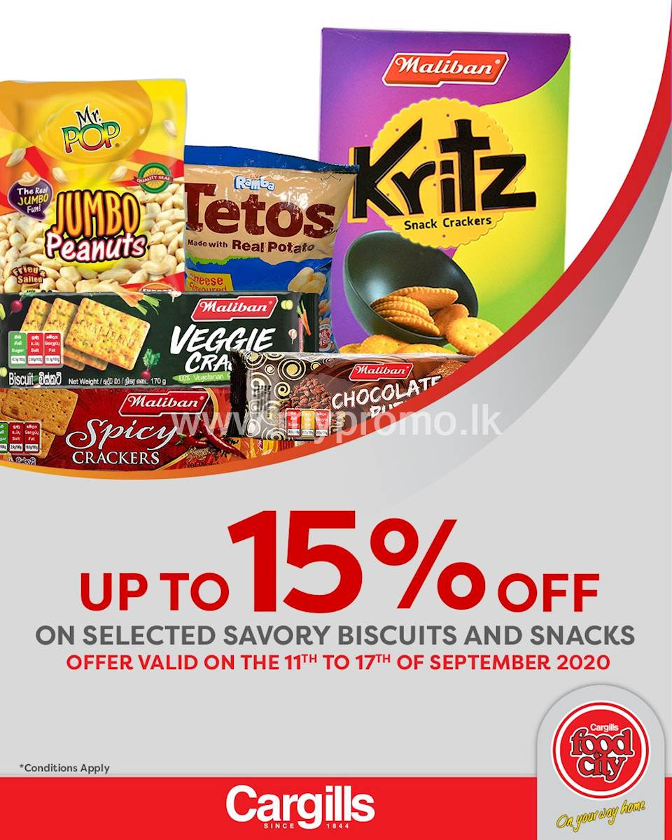 Get up to 15% off on selected Savory Biscuits and Snacks at Cargills FoodCity