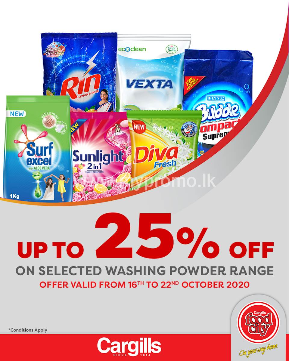 Get up to 25% off on selected Washing Powder products at Cargills FoodCity!
