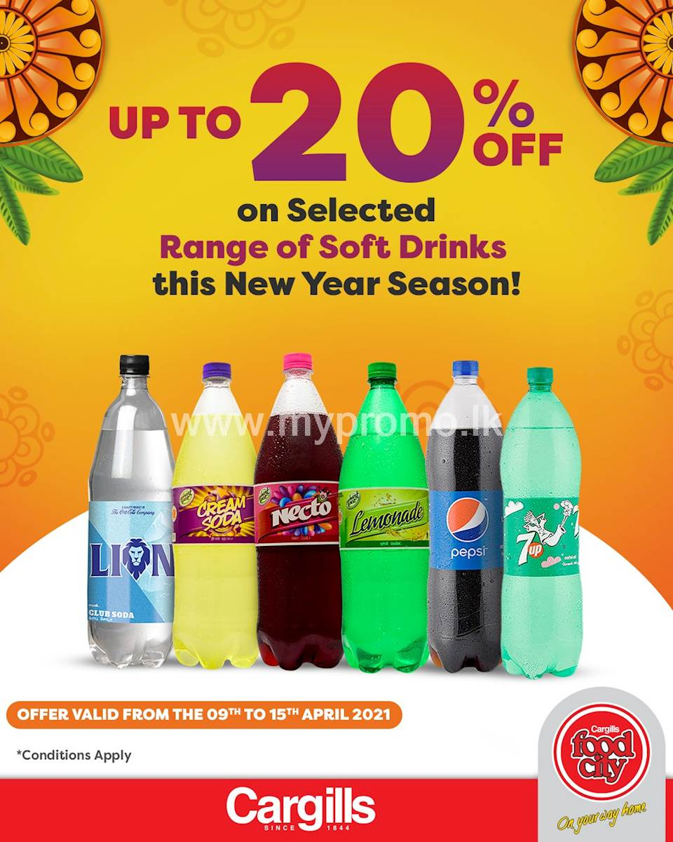 Get up to 20% Off on selected Soft Drinks at Cargills FoodCity this New Year season!