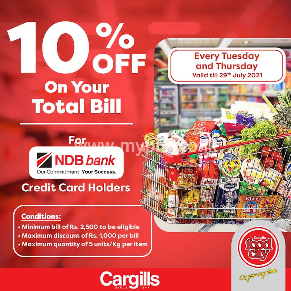 Get 10% off on your total bill when you shop at your nearest Cargills Food City using your NDB Bank Credit Card!
