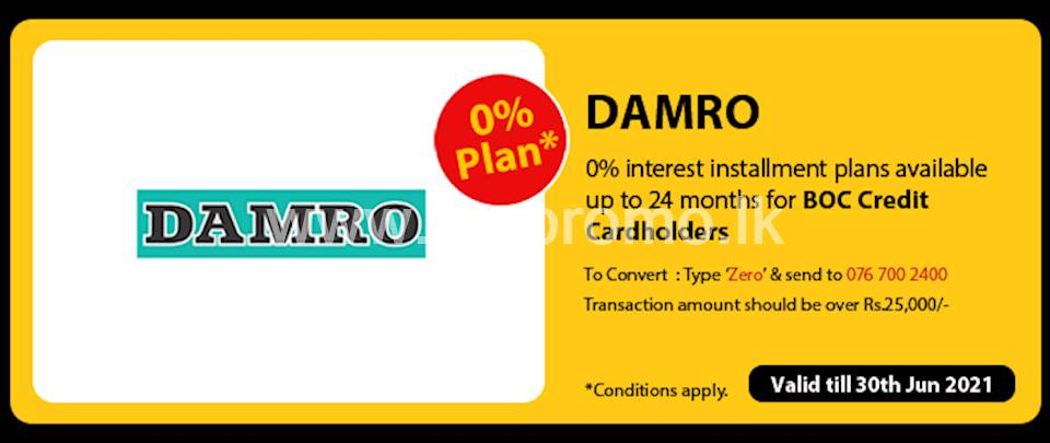 Get 0% interest Installment Plans available up to 24 months for BOC Credit Cards at Damro