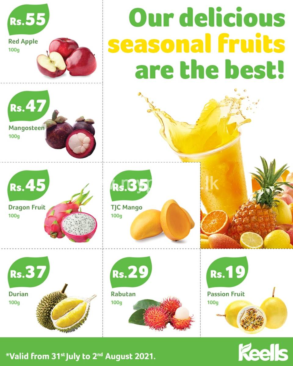 Offering a variety of fruits including seasonal fruits at a great price at Keells