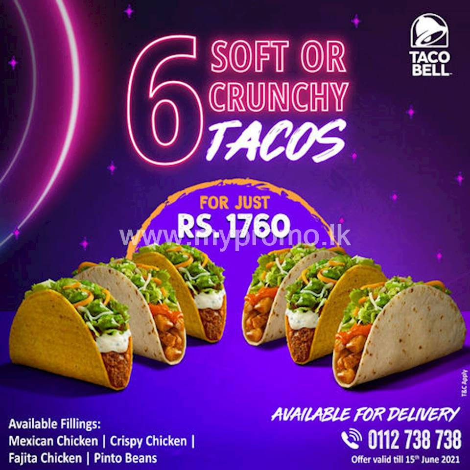 Get 6 Soft or Crunchy Tacos for just Rs 1760 at Taco Bell