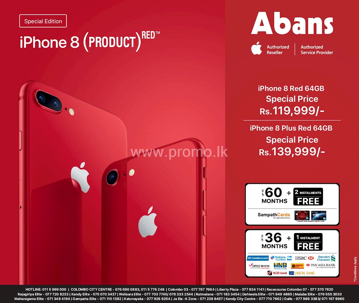 Grab your iPhone 8 and 8 plus Red at special price from Abans