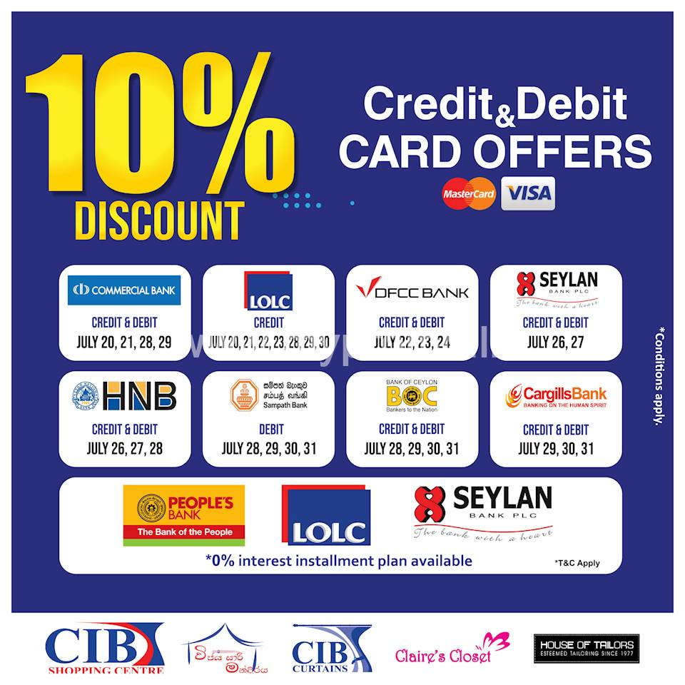 Credit and Debit Cards offer at CIB Shopping Centre