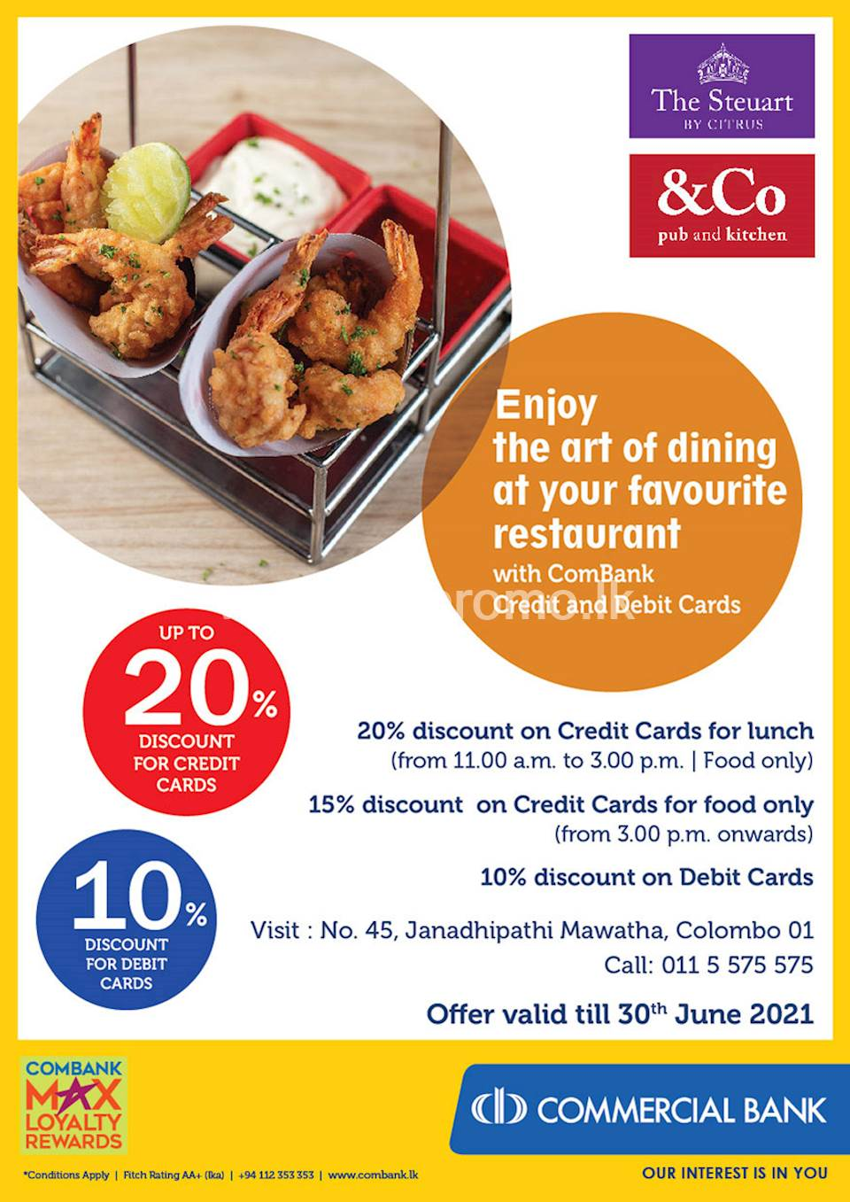 Enjoy up to 20% Discount for ComBank Credit and Debit Cards at The Steuart by Citrus