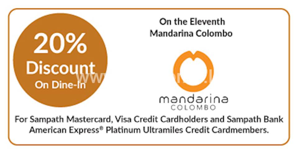 Get 20% discount on Dine-in at On the Eleventh - Mandarina Colombo for Sampath Bank Cards