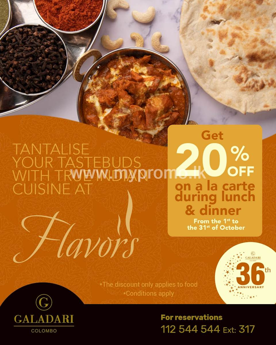 Get 20% off during Lunch and Dinner on a La Carte Galadari Hotel
