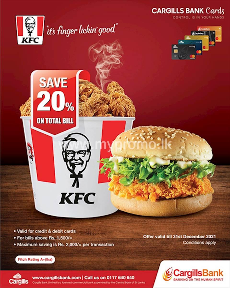 Save 20% Off with Cargills Bank Cards at KFC Sri Lanka
