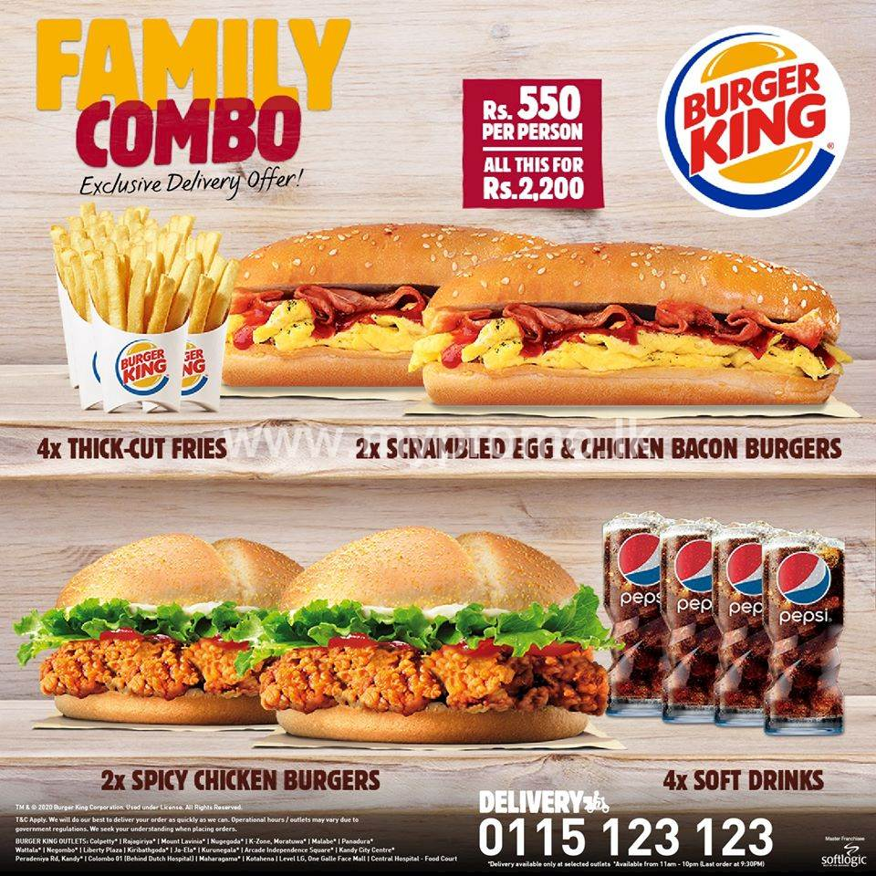 BURGER KING FAMILY COMBO PACK!!