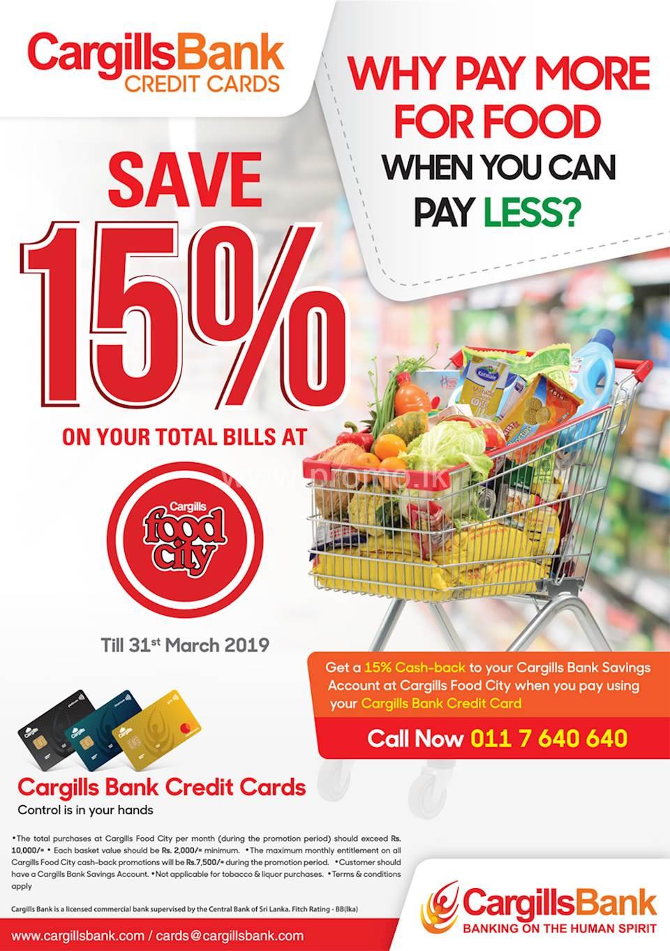 Save 15% on your total bills at Cargills Food City