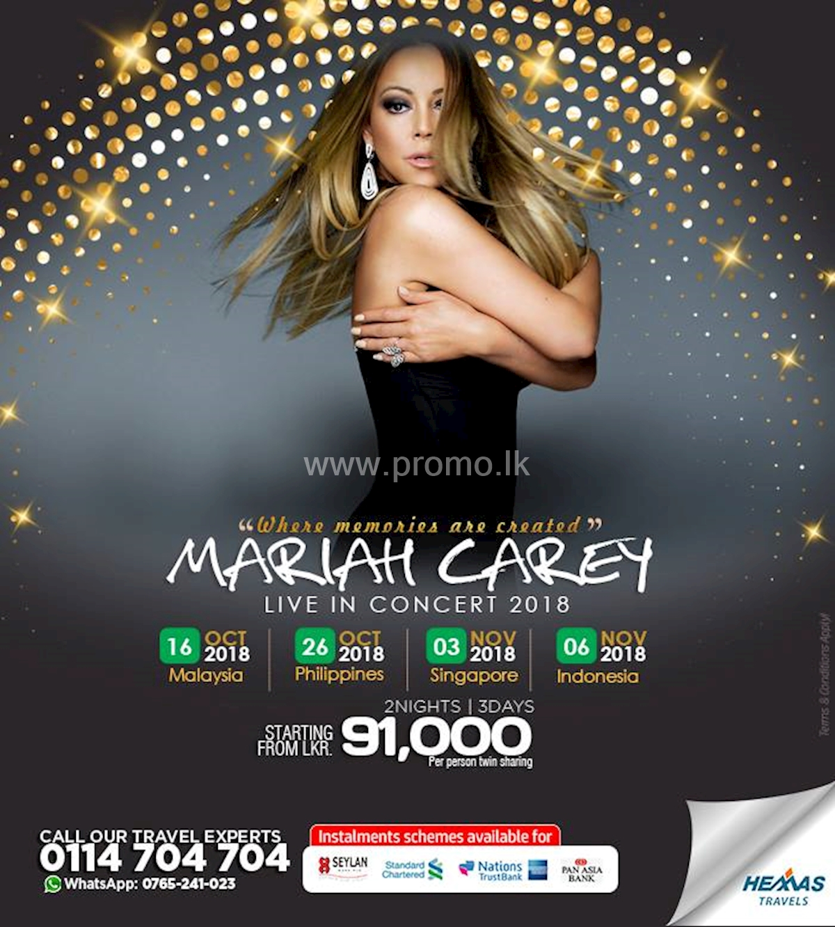 Mariah Carey Live In Concert for 2 Nights and 3 Days from Hemas Travels