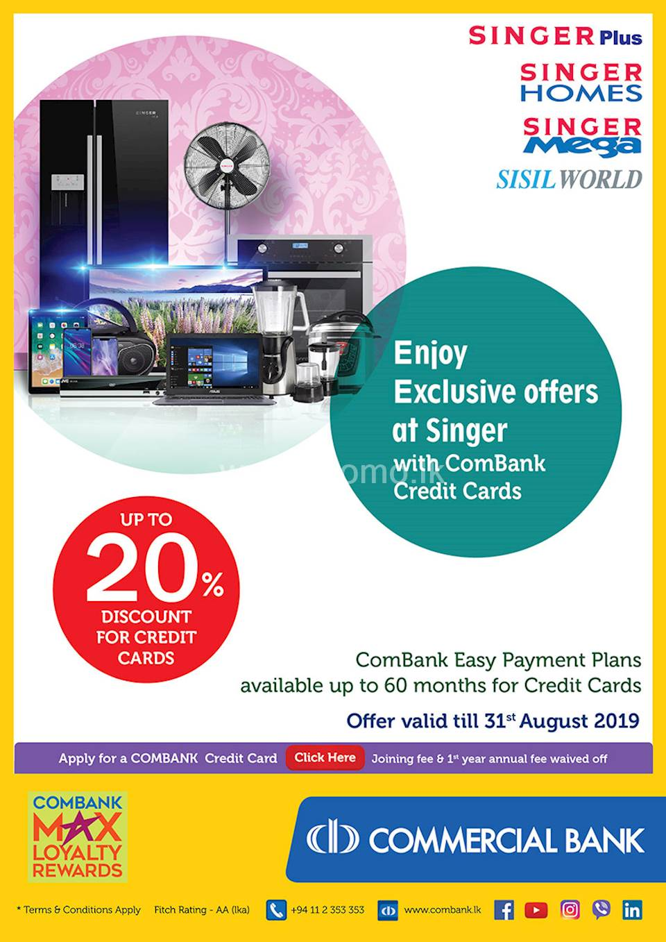 Combank easy payment plans available up to 12months for Credit cards at Singer