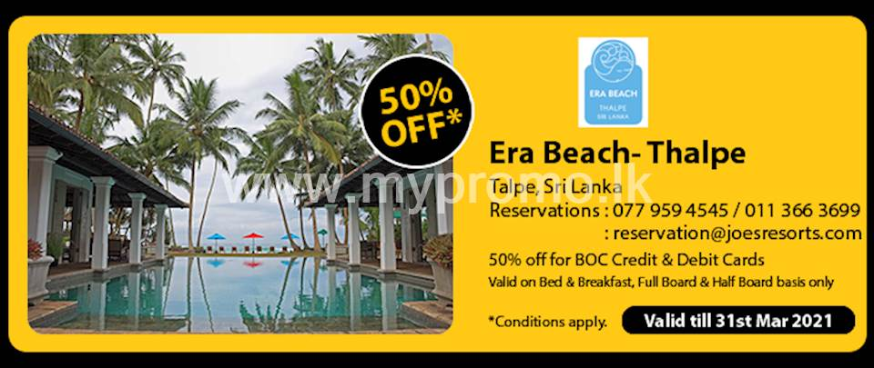 Get 50% off at Era Beach - Thalpe for BOC Credit and Debit Cards