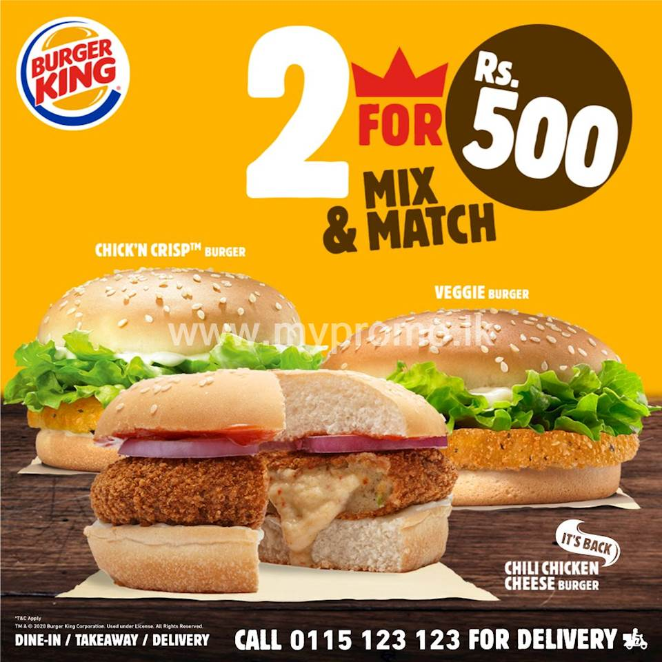 2 for 500/- Offer at Burger King