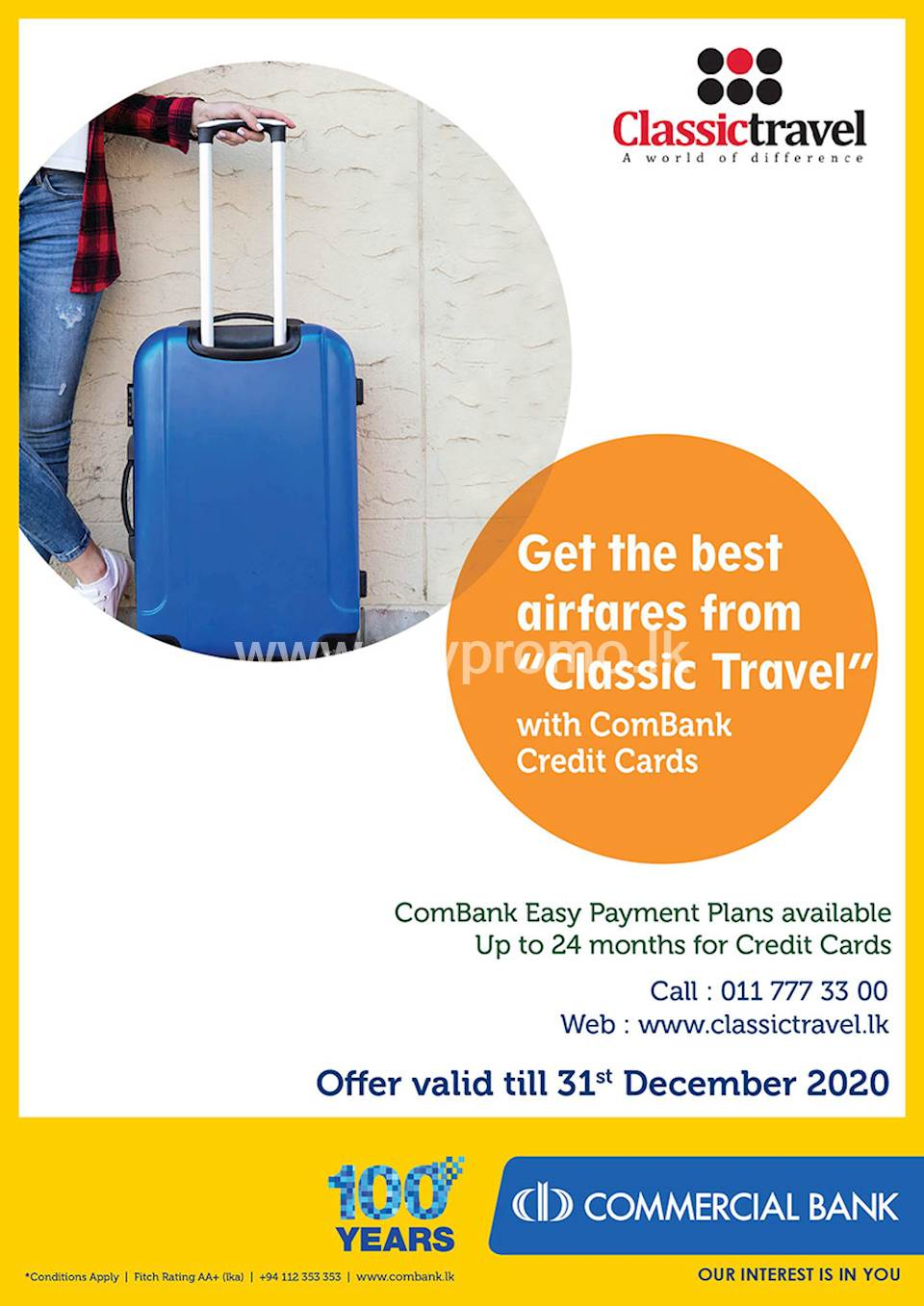 """General Offer - Get the best airfares from """"Classic Travel"""" with ComBank Credit Cards."""
