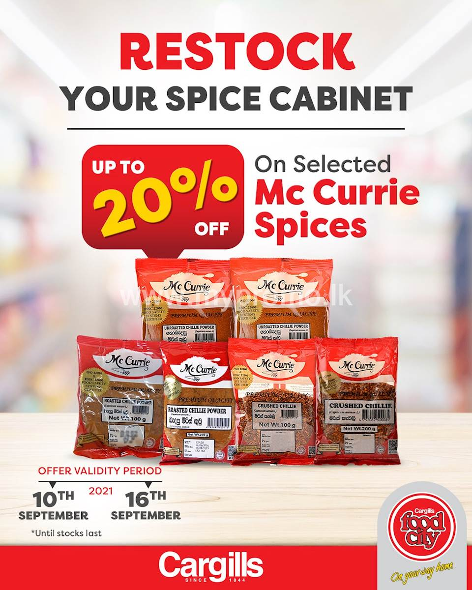 Get up to 20% OFF on Selected Mc Currie Spices at Cargills Food City