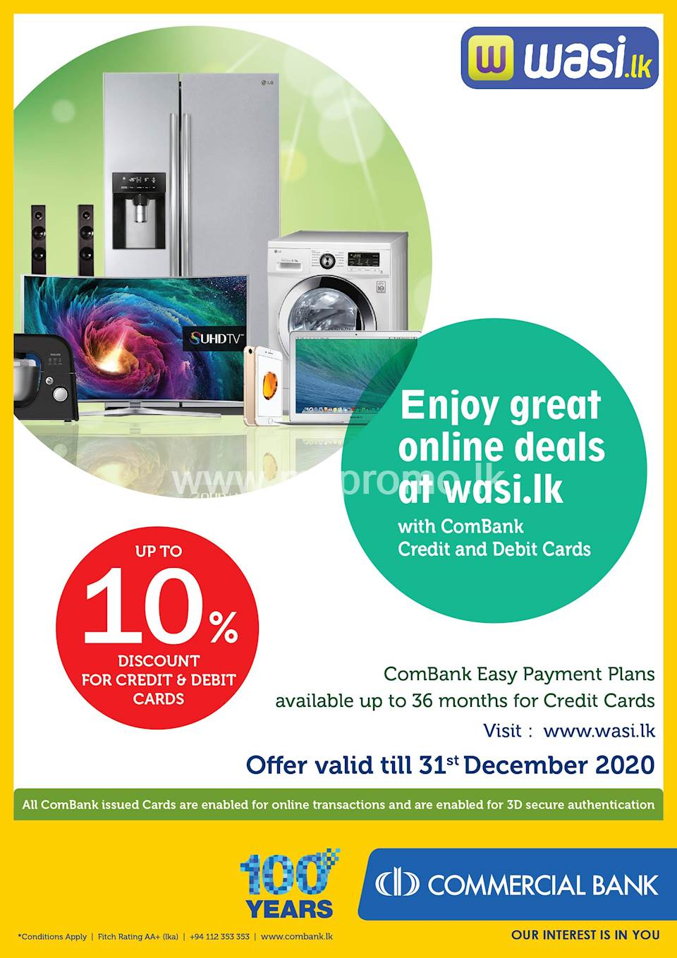 Enjoy Up to 10% Discount at wasi.lk with ComBank Credit and Debit Cards.
