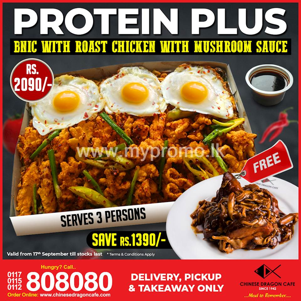 Save Rs. 1390 with Protein Plus! (till stocks last) at Chinese Dragon Cafe!