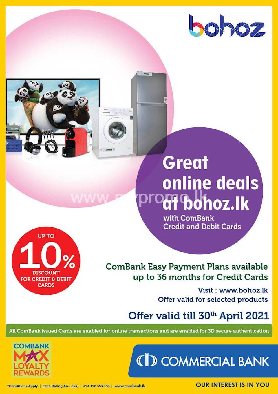 Get up to 10% Discount at bohoz.lk with ComBank Credit and Debit Cards