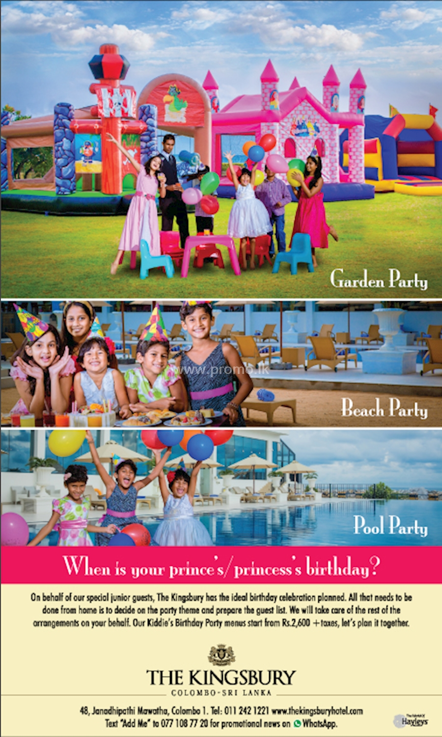 A Birthday Party for your Prince and Princes at The