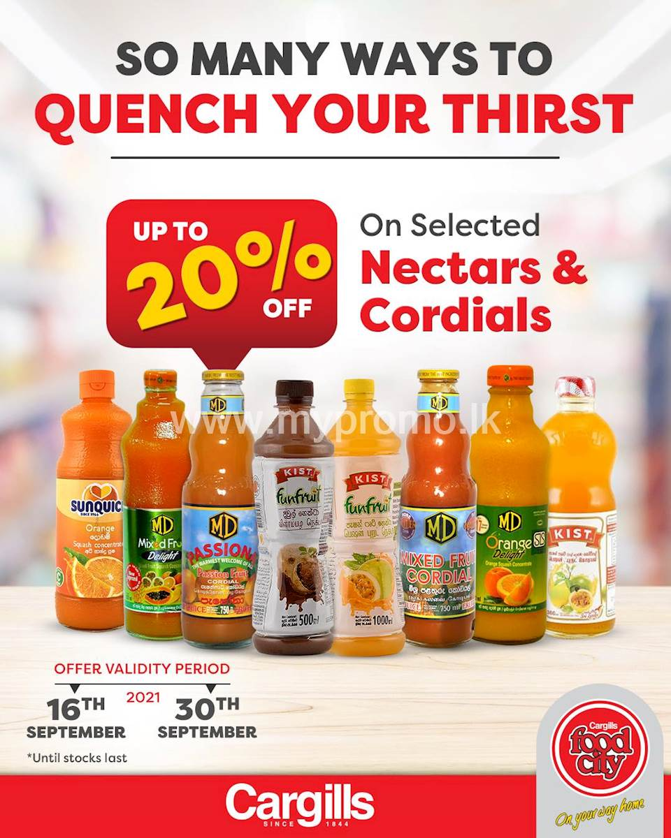 Get up to 20% OFF on a selection of Nectar and Cordials at Cargills Food City
