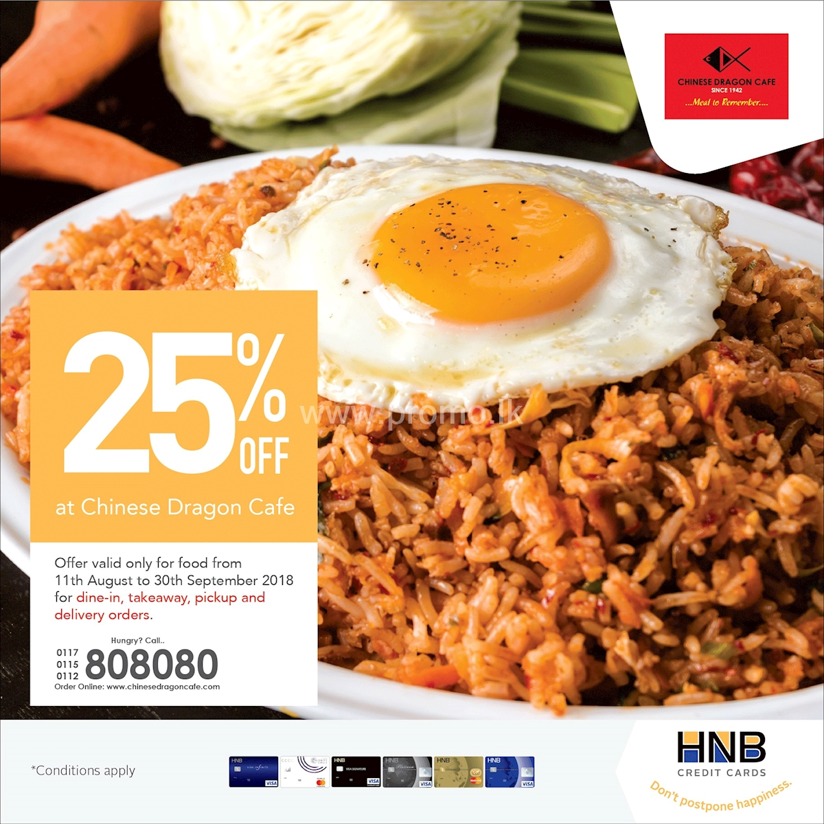 25% Off at Chinese Dragon Cafe for HNB Credit Cardholders